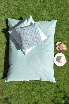 OVERSEAS - Beanbag Canvas Patchwork-Ice, Pillow Microfiber Porto-Ice, Pillow Natural Knitted Vertigo-Ice