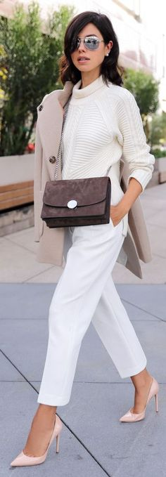 White Double Pleats High Waisted Trousers