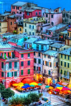 Colors at night - Manorola - Cinque Terre - Italy.