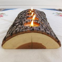 5 tealight wood candle holder low lying