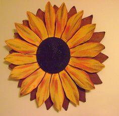 Sunflower - 2 feet wide, Sculptured Metal Sunflower, Sunflower Wall Hanging, Painted Flower on Etsy, $89.00