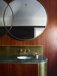 Bondi Beach Apartment Astra Walker Icon + Tap Set in Eco Brass Custom brass mirrors and vanity Artedomus Black Yuki Border Mosaic tile on walls in reflection of mirror