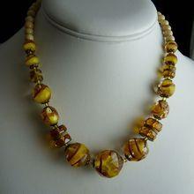 Art Deco Amber Czech Glass Bead Necklace Sold
