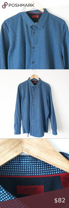 NWT $83 ALFANI Men/'s SLIM-FIT STRETCH BLUE LONG-SLEEVE DRESS SHIRT 17-17.5 34//35