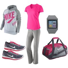 """""""Nike - Grey & Pink Workout"""" by mar6732 on Polyvore"""