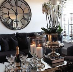 Glamorous large mirrored wall clock with oversized design and antique face