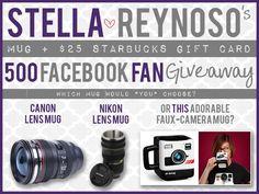Stella Reynoso's 500 Facebook Fan Giveaway ends on June 25th!  #lensmug #starbuckscard #bloggingworkshop
