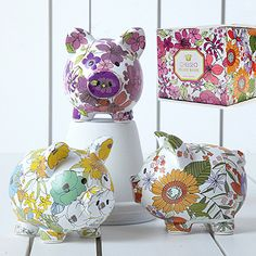 Two's Company Chelsea Piggy Banks (Set of 3 Asst): Our cute little piggy banks make it fun to save spare change. Set includes one of each color.  Each arrives in its own gift box.  5