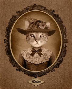 Cindy Jerrel of Hot Dog Digital    ---      A custom portrait from Hot Dog Digital ($49+) makes a great gift for someone who can get a chuckle out of the anthropomorphizing of his/her cat or who is curious what kitty would look like all dressed up but doesn't want to lose a limb!