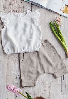 Handmade Linen Baby Blouse & Pants | NoisyForest on Etsy
