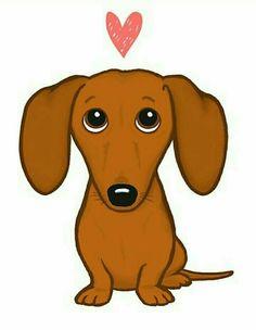 Dachshund Drawing, Dachshund Art, Daschund, Animal Drawings, Cute Drawings, I Love Dogs, Cute Dogs, Image Originale, Weenie Dogs