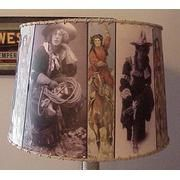 Cowgirl Lamp Shade, Vintage...