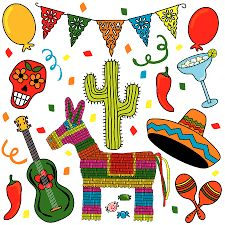 Illustration of Clip art Mexican Fiesta individually grouped. Great for Cinco de Mayo! vector art, clipart and stock vectors. Free Clipart Images, Royalty Free Clipart, Free Vector Art, Mexican Dinner Party, Mexican Fiesta Party, Mexican Invitations, Cactus Clipart, Mexican Costume, Mexican Party Decorations