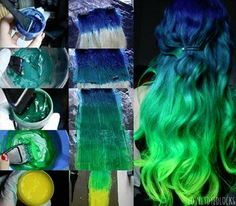 Blue to Green Dyed - Hairstyles and Beauty Tips