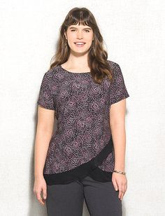 Plus Size Chiffon-Trim Tulip Hem Top  I love the hem, but would like the sleeves a little longer and fuller.