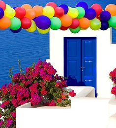Santorini Island, Greece, birthday party balloons/ by Jim Zuckerman