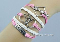 Telesthesia Charm BraceletArrow braceletLOVE by goodlucky on Etsy, $10.99