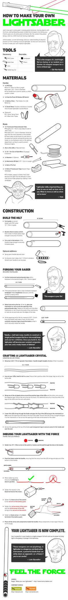 How to build your own lightsaber, this could come in handy someday. Halloween this year!!