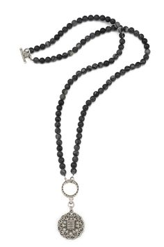 """32"""" Picasso stone with antiqued sterling silver-clad FK hoop and Avignon medallion by French Kande"""