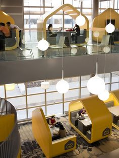 Coventry University Hub - great way of introducing privacy in a public space - Contract Design Office Interior Design, Office Interiors, University Interior Design, Fun Office Design, University Architecture, Office Designs, Interior Decorating, Commercial Design, Commercial Interiors