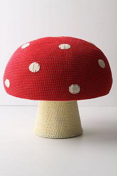 "Mushroom Pouf by Anne-Claire Petit: Measures 15""H; 15"" diameter. Made of polypropylene, cotton and wood. #Mushroom #Pouf #Anne_Marie_Petit"