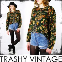vtg 80s 90s grunge PAISLEY FLORAL revival FISHTAIL dipped hem CROPPED shirt top $28.00