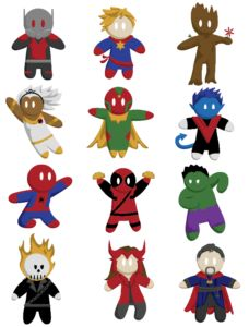 vector superhero icons by student Breanne