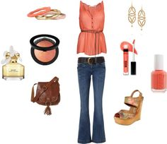 pretty in peach, created by carlycasey on Polyvore