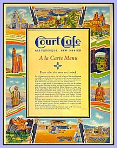 Court Café, Albuquerque, American Indian, Vintage  Menu 1934