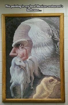 Optical Illusion In Bathroom Painting