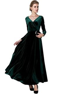 Medeshe Womens Emerald Green Christmas Long Velvet Maxi Dress 68 *** Read more reviews of the product by visiting the link on the image. (This is an affiliate link) Sexy Long Dress, Long Sleeve Evening Dresses, Formal Evening Dresses, Dress Formal, Evening Gowns, Dance Dresses, Ball Dresses, Ball Gowns, Party Dresses