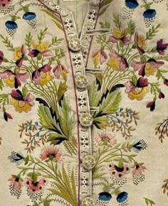 Detail Waistcoat embroidery, suit, 1774-1793, French, silk