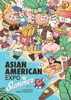 Asian American Expo summer poster on Behance People Illustration, Line Illustration, Business Illustration, Graphic Design Illustration, Digital Illustration, Typography Poster Design, Graphic Design Posters, Graphic Design Inspiration, Book Design