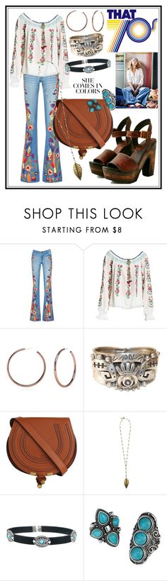 """1970's (70's Hippie Style)"" by seus-eky ❤ liked on Polyvore featuring Alice + Olivia, Needle & Thread, Belk Silverworks, Chloé, Boho Gal and Avon"