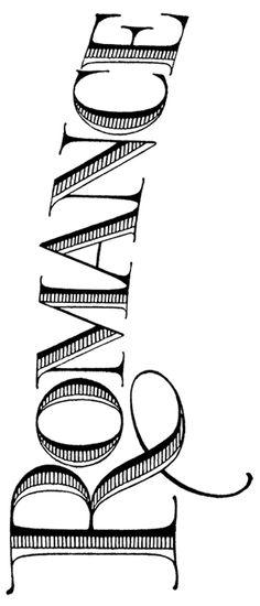 vintage-romance-lettering-print @ Vintage Fangirl pinned with Bazaart Vintage Fonts, Vintage Romance, Vintage Lettering, Graphics Vintage, Vector Graphics, Cool Typography, Creative Lettering, Typography Design, Block Letter Fonts