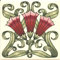 Historic Tiles - Art Nouveau Transfer Print Tiles - Fanfare Single