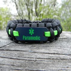 Neon Green Paramedic Bracelet Gifts for EMS personnel and their family & friends who support them. How To Size- Wrap a strip of paper or string around your wrist - mark where the ends overlap comforta