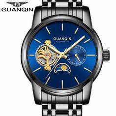 f62ddfc2ad7 Relogio masculino Marca De Luxo Turbilhão GUANQIN safira Dos Homens de  Negócios de Aço Inoxidável Esqueleto Mecânico Automático Relógios Uma -