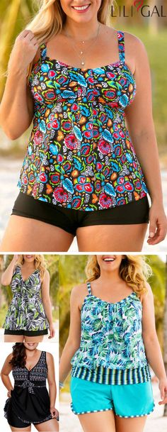 Find latest multi color boho print #plussize tankini #swimwear trends at #liligal, cute&comfy for curvy girls, high quality&nice price, #freeshipping worldwide and easy returns, #coupons $4 off over $56, $7 off over $80, code: liligal2019. Summer Swimwear, Plus Swimwear, One Piece Swimwear, Swimsuits, Bikinis, Shoe Websites, Holiday Beach, Plus Size Fashion Tips, Size Clothing