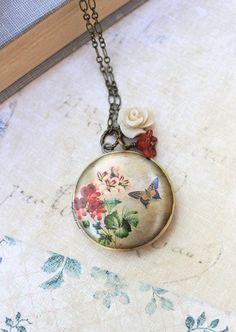 Flower Locket Necklace Rose Charm Long Necklace