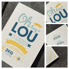 Birth Announcement Card LOU - Design by Head Office - Proudly printed in Belgium by www.letterpressgust.com #birthcard #letterpress #drukkerijdirix