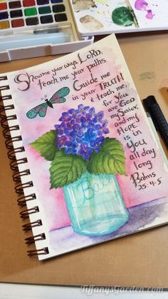 Tiffany's Garden Paper Crafts, Digital Stamps, Hand Made Cards, Country Living: Watercolor Hydrangea in a Ball Mason Jar
