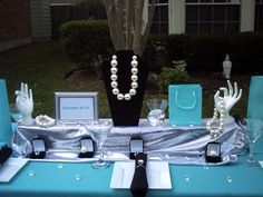 Tiffany & Co inspired centerpiece set.  Would be great on food table.