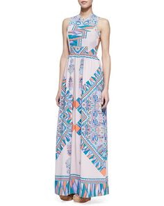 Blush + blue scarf patterned maxi dress from Lovers + Friends