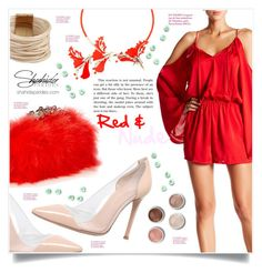 """""""Shahida Parides Red designer could shoulder romper"""" by captainsilly ❤ liked on Polyvore featuring Ek Thongprasert, Saachi, Gianvito Rossi, Terre Mère, Alexander McQueen, polyvoreeditorial, polyvorestyle, polyvorefashion and ShahidaParides"""