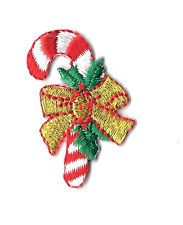 Candy Cane - Christmas - Bow - Holly - Embroidered Iron On Applique Patch
