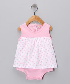 Take a look at this Pink	Flower Dot Skirted Bodysuit by Sweet & Soft: Playwear on #zulily today!