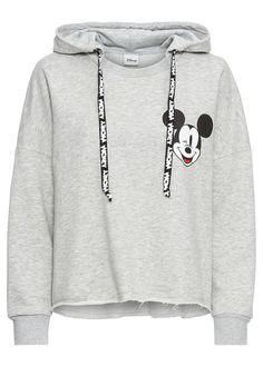 Mikina s kapucňou, Mickey Mouse potlač svetlosivá melírovaná • 21.99 € • bonprix Disney Style, Hoodies, Sweatshirts, Outfit, Mickey Mouse, Disney Fashion, Sweaters, Products, Cowl