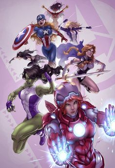 Earth's Mightiest Heroines: The Avengers! // artwork by Drake Tsui (2012)    Featuring (top to bottom): Spider-Woman, Miss America, Mocking Bird, X-23, Valkyre, She-Hulk and Rescue!