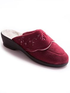 Ladies Embroidered Mule Style Wool Slippers Ladies slippers with embroidered and scalloped turn-back. Textile uppers. Pure new wool lining. Semi-wedge sole: other materials. Heel: 11/2in. approx. (4cm). http://www.MightGet.com/january-2017-11/ladies-embroidered-mule-style-wool-slippers.asp